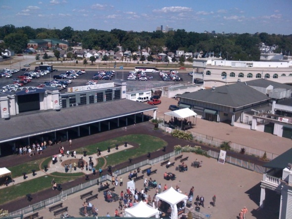 A view of the paddock from the fifth-floor balcony of Churchill Downs.