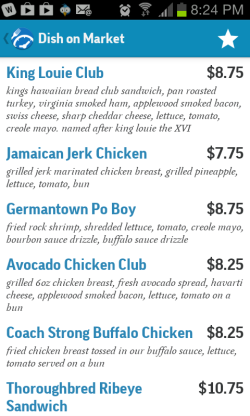 A screenshot of Menu and Hours. This is a portion of the Dish on Market menu.