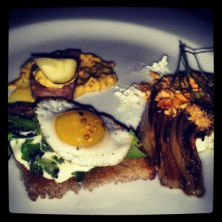 Quail egg toast, pork and pistachio galantine and grilled fennel from Rye.