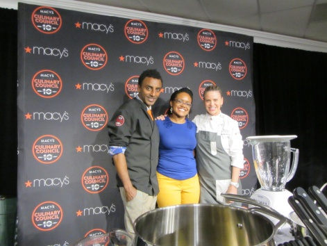 Chef Marcus Samuelsson, me and Chef Michelle Bernstein at the Macy's Culinary Council demonstration.