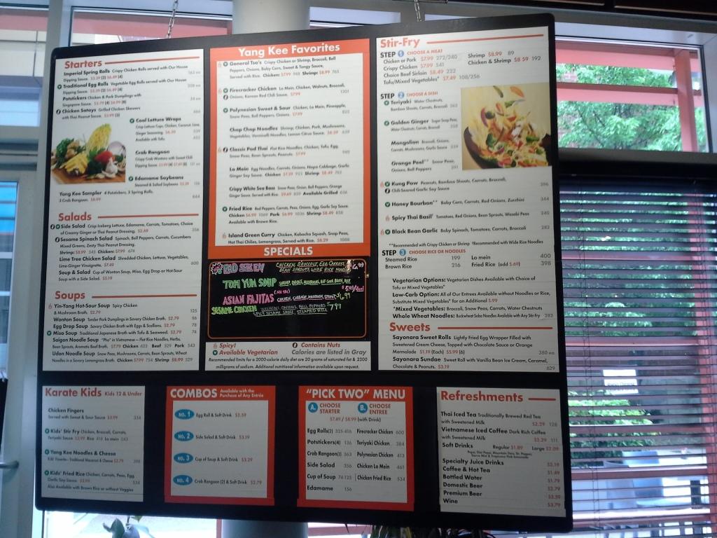 Yang Kee Noodle menu board