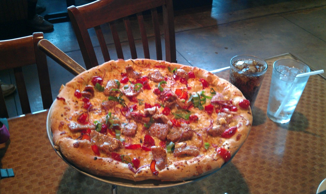 The Chicken Peppadew pizza at Boombozz in Westport Village.
