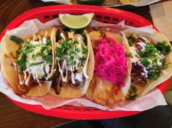 A sampling of tacos from El Taco Luchador on Baxter Avenue.