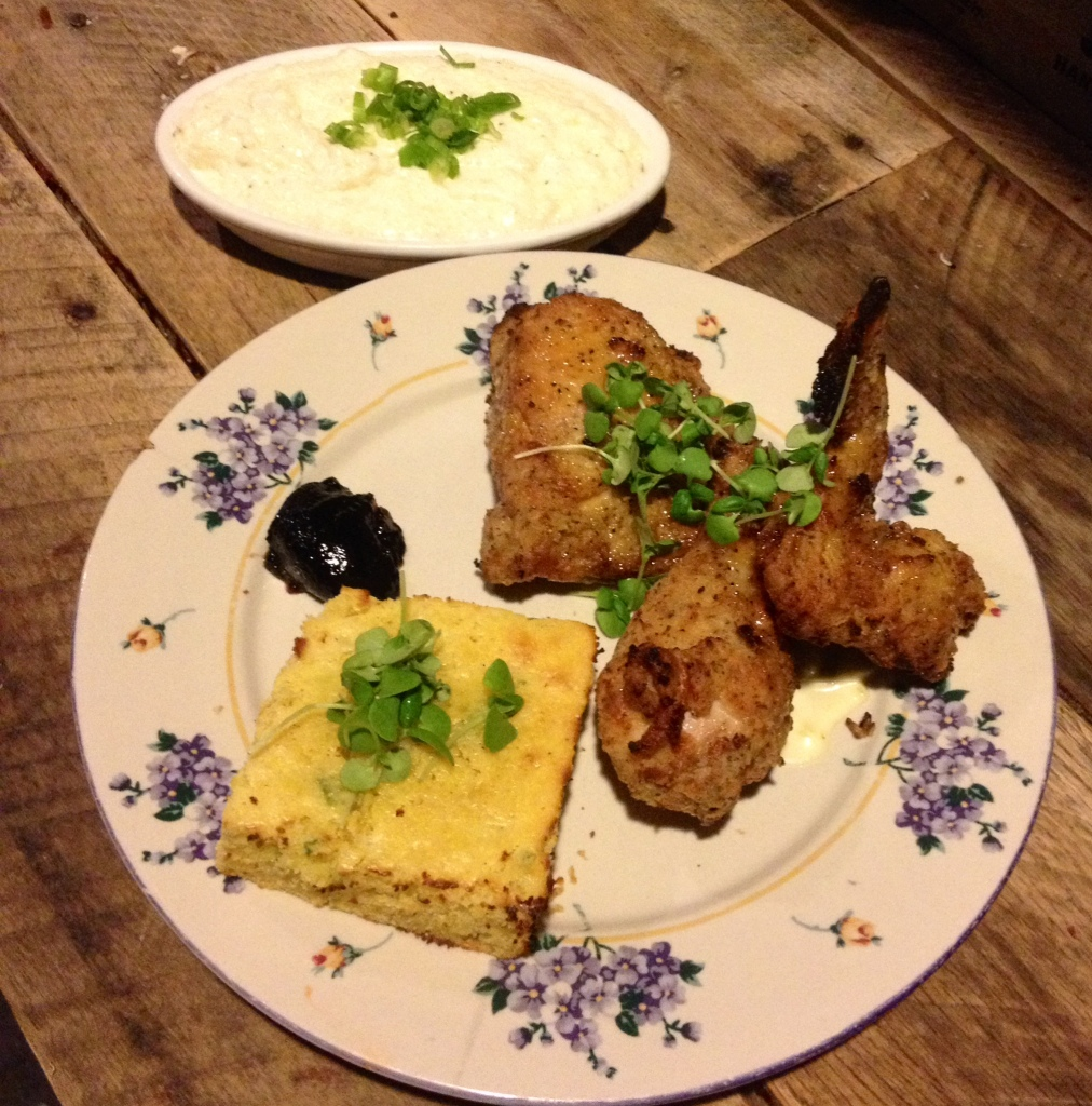 Fried chicken and grits. Photo courtesy Alexander + Hughes Advertising & Marketing