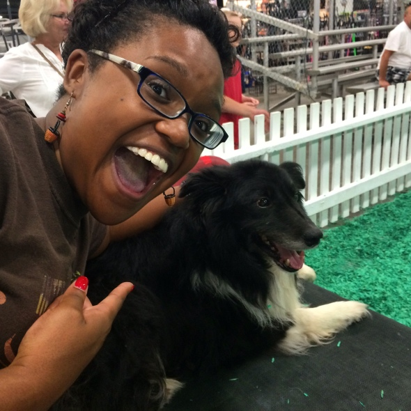 The highlight of my visit was getting one-on-one time with Flint, one of the Miller border collies.