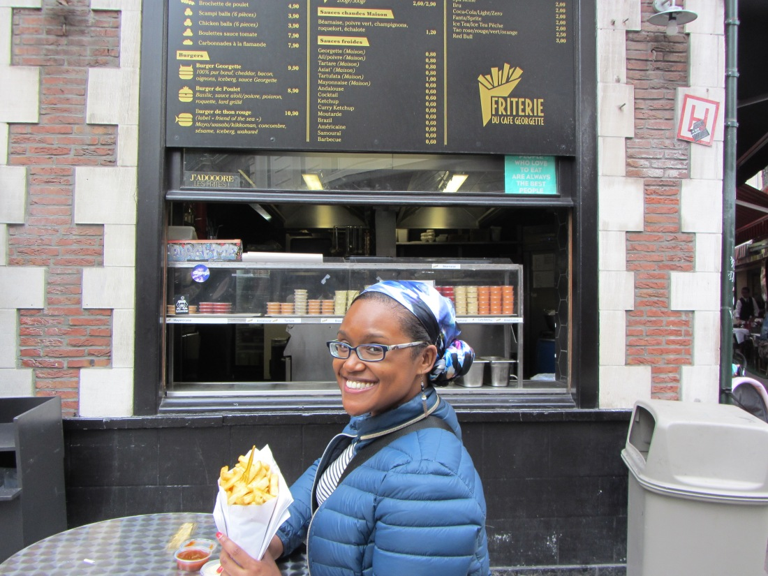 A frites stand in Brussels, Belgium. That look on my face? Pure joy.